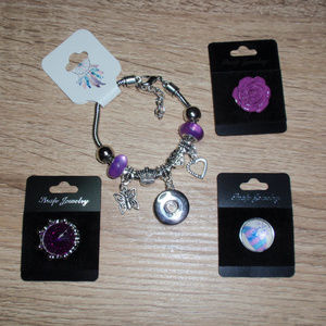 18mm Snap bracelet Crown Rose Feather 3 Snaps Lot